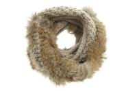 Fular circular fara capete din lana cu blana de iepure - Seeberger